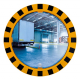600mm Diameter P.A.S Yellow and Black Framed Industry and Workplace Mirror