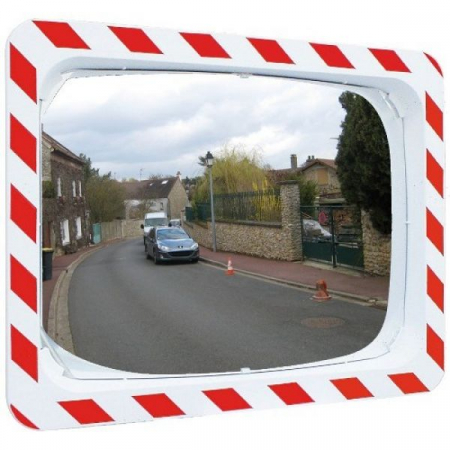 800 x 600mm P.A.S Traffic Mirror with Red & White Frame