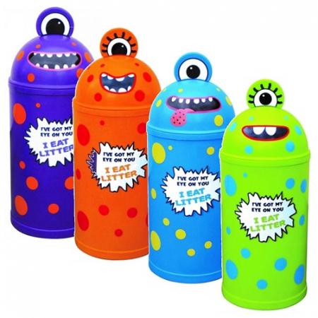 Set of 4 Monster Litter Bins