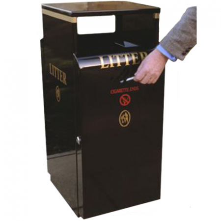 Valley Litter Bin with Cigarette Disposal Unit - 100 Litre Capacity
