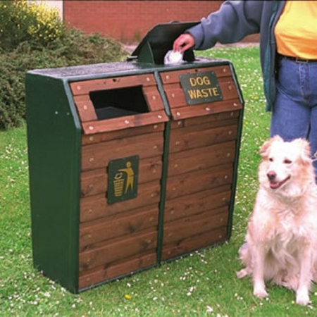 Timber Fronted Combined Dog Waste and Litter Bin