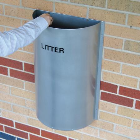 Semi-Circular Litter Bin - 28 Litre Capacity