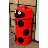 Ladybird Animal Face Litter Bin - 90 Litre