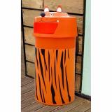 Tiger Animal Face Litter Bin - 90 Litre
