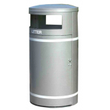 Circular Closed Top Litter Bin  - 95 Litre Capacity