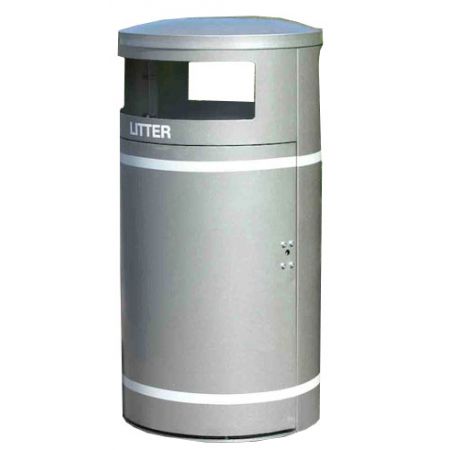 Circular Closed Top Litter Bin  - 95 Litre Capacity