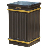 GRP Square Fluted Open Top Litter Bin - 112 Litre Capacity