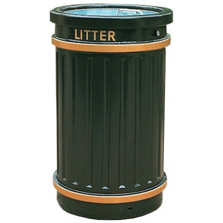 GRP Circular Fluted Open Top Litter Bin - 84 Litre
