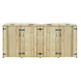 Quad Chest Timber Wheelie Bin Store