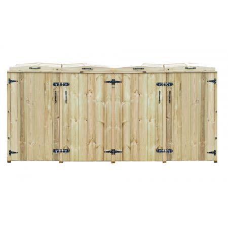 Quad Chest Timber Wheelie Bin Store