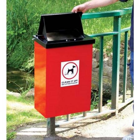 Post Mountable Galvanised Steel Dog Waste Bin with Chute