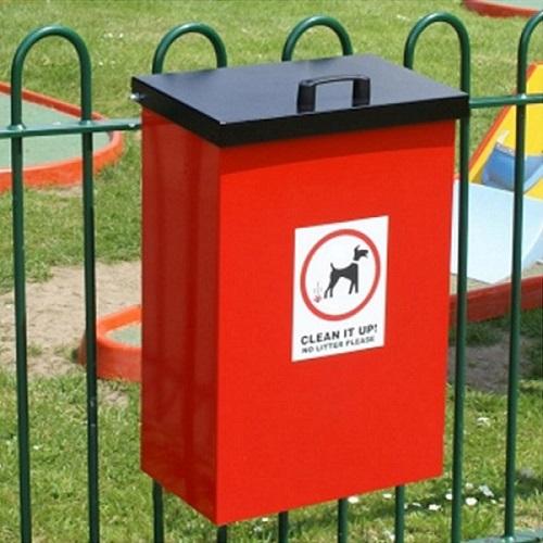 post mountable galvanised steel dog waste bin