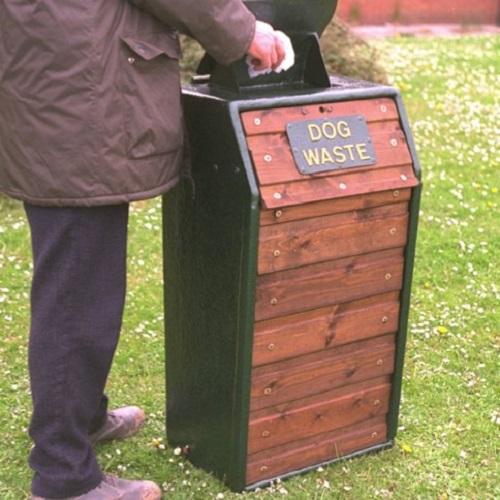 timber fronted dog waste bin