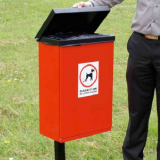 Post Mountable Front Opening Galvanised Steel Dog Waste Bin