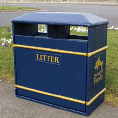 GFC Large Closed Top Litter Bin - 154 Litre Capacity
