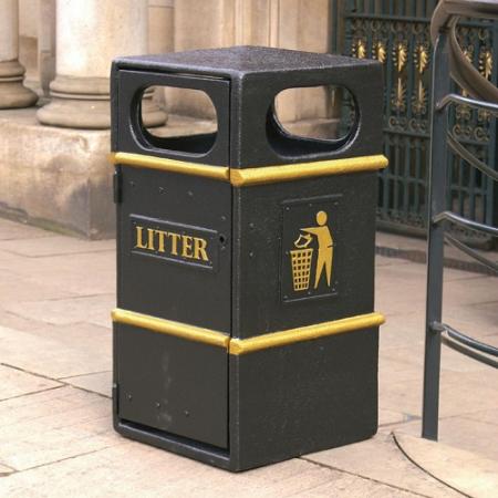 GFC Square Closed Top Litter Bin - 84 Litre Capacity