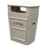 Fire Retardant GRC Closed Top Litter Bin - 84 Litre Capacity