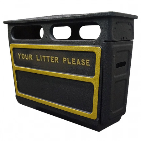 Fire Retardant GRC Closed Top Litter Bin - 168 Litre Capacity
