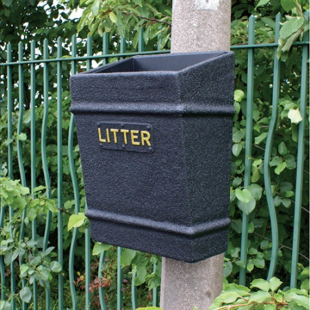 GFC Post Mountable Open Top Litter Bin - 35 Litre Capacity