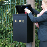 Square Post Mountable Litter Bin - 56 Litre