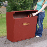 Fire Retardant GRC Semi-Open Top Litter Bin - 154 Litre Capacity