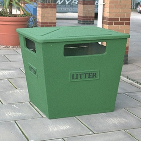 Fire Retardant GRC Large Closed Top Litter Bin - 231 Litre Capacity