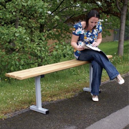 Iroko Hardwood Slatted Bench
