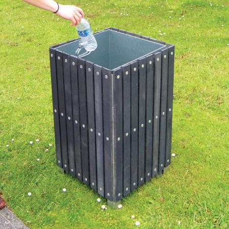 Square Plastic Slatted Open Top Litter Bin - 112 Litre Capacity