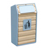 Timber Fronted Single Litter Bin - 105 Litre Capacity