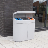 Torpedo Triple External Recycling Bin With Hood - 162 Litre