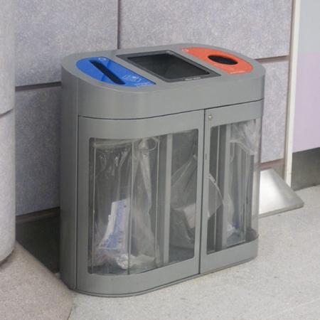 Torpedo Triple Transparent Internal Recycling Bin - 162 Litre