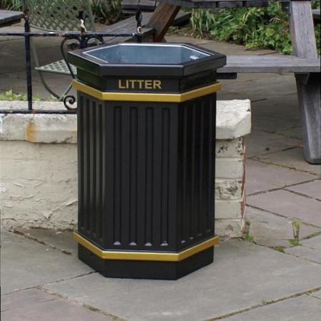 GRP Hexagonal Fluted Open Top Litter Bin - 84 Litre