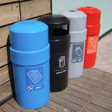 Circular Closed Top Litter Bin - 84 Litre Capacity