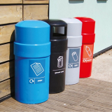 Circular Closed Top Recycling Bin - 84 Litre